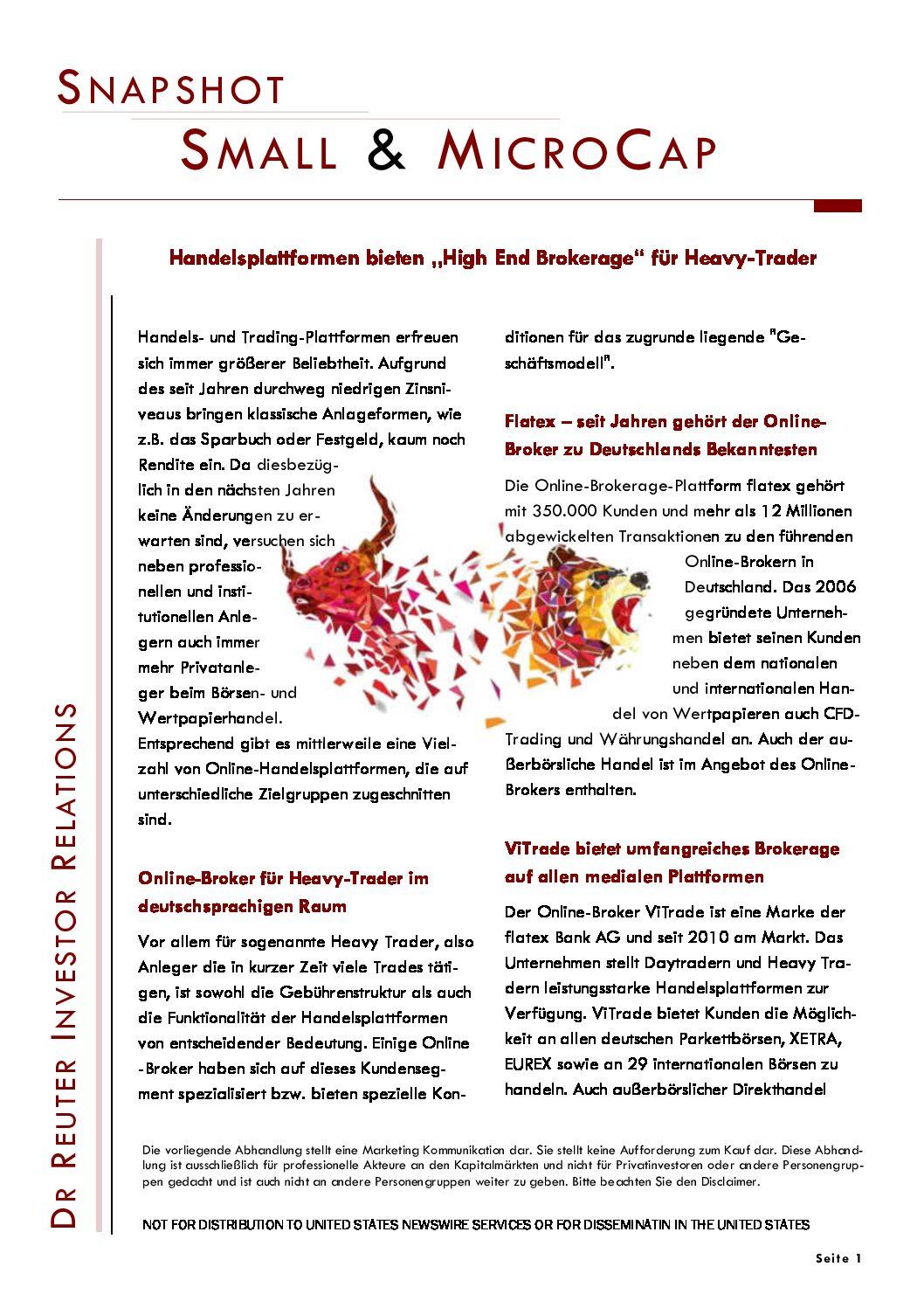 """Snapshot 09.09.2020 sino AG: Handelsplattformen bieten """"High End Brokerage"""" für Heavy Trader"""