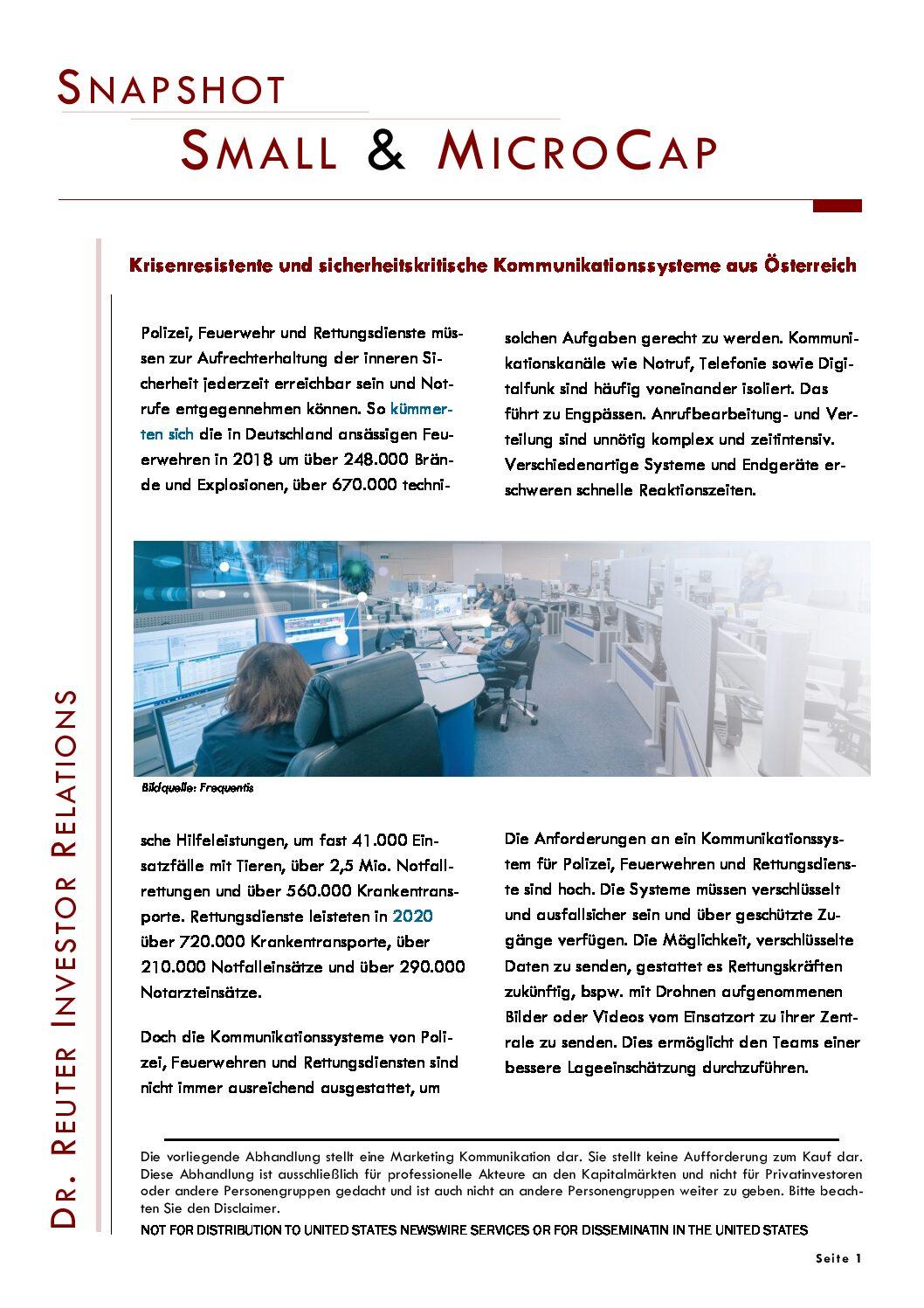 Snapshot 26.03.2021 Frequentis: Krisenresistente und sicherheitskritische Kommunikationssysteme aus Österreich