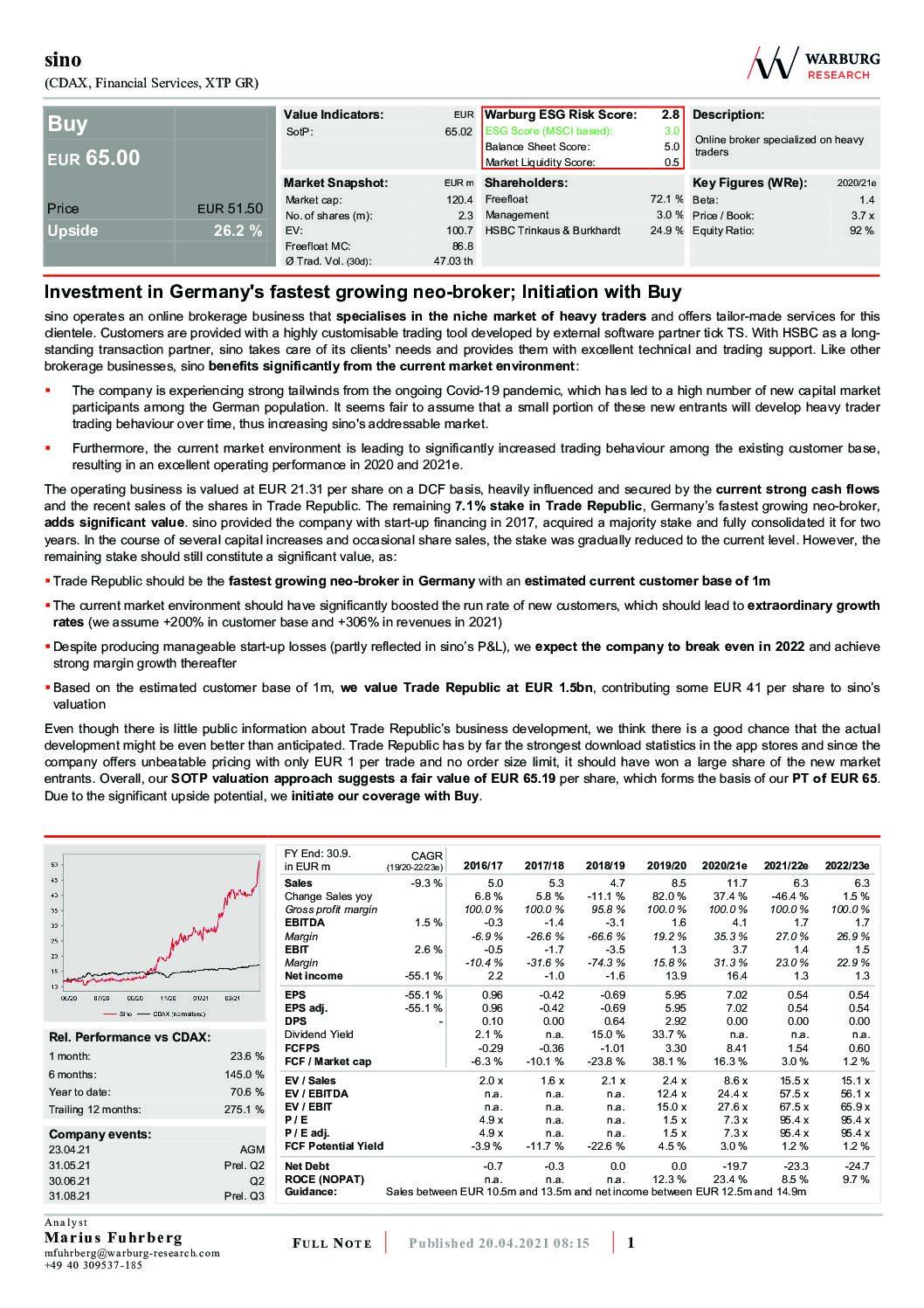 16.06.2021 sino AG: Warburg Research bewertet sino AG mit BUY – Ziel: 122 EUR